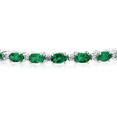 14k White Gold Diamond and  Emerald  Bracelet