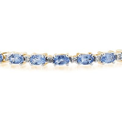 14k Yellow  Gold Diamond and  Tanzanite Bracelet