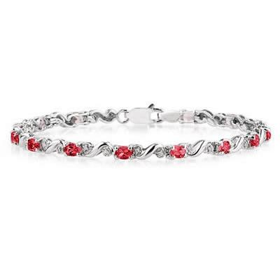 10k White Gold Diamond and  Ruby Bracelet