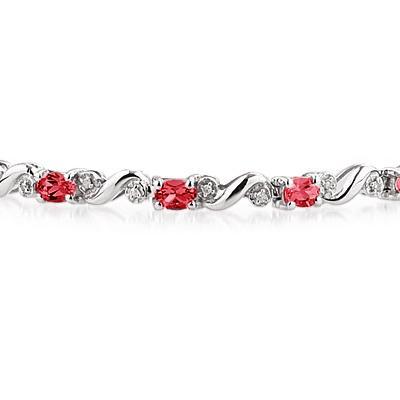 10k White Gold Diamond and  Ruby Bracelet