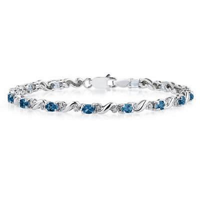 10k White Gold Diamond and  Sapphire Bracelet