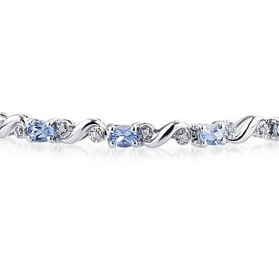 10k White Gold Diamond and  Tanzanite Bracelet