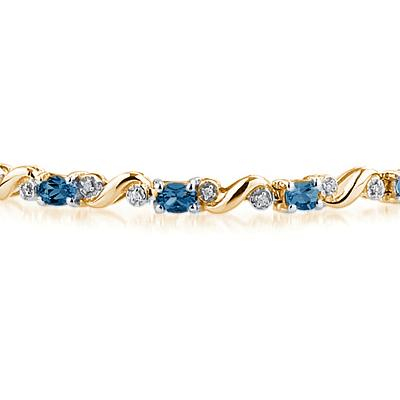 10k Yellow Gold Diamond and Sapphire Bracelet