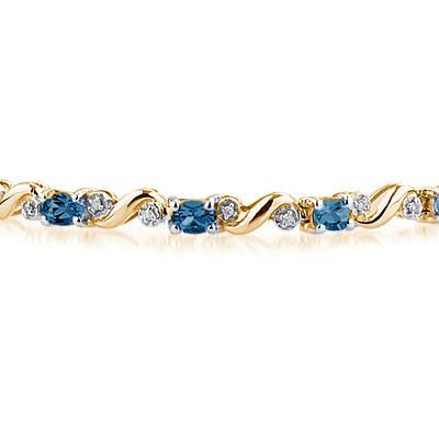 10k Yellow Gold Diamond and Sapphire Bracelet
