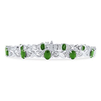 14k White Gold Diamond and Emerald Bracelet