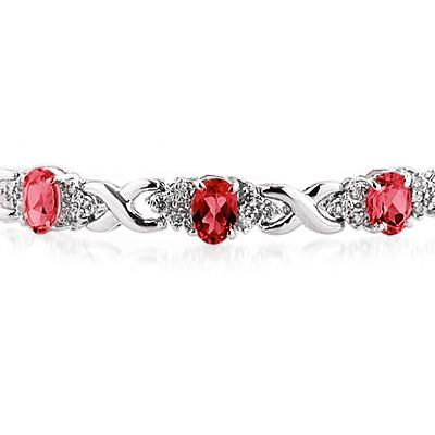 14k White Gold Diamond and Ruby Bracelet