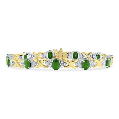 14k Yellow Gold Diamond and  Emerald  Bracelet
