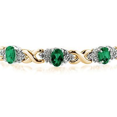 14k Yellow Gold Diamond and  Emerald  Bracelet