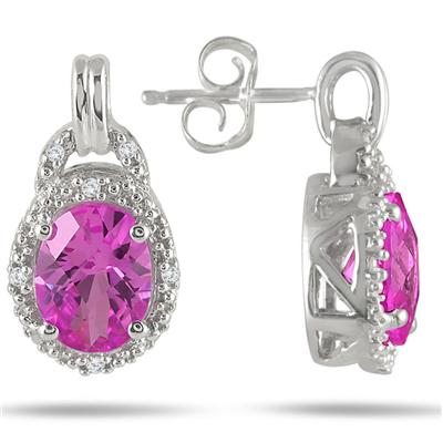 2.90 Carat Created Pink Sapphire and Genuine Diamond Earrings in .925 Sterling Silver