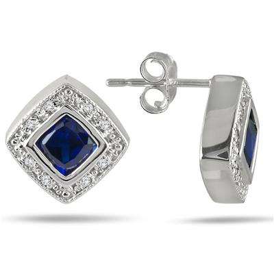 4MM Created Cushion Cut Sapphire and Genuine Diamond Earrings in .925 Sterling Silver
