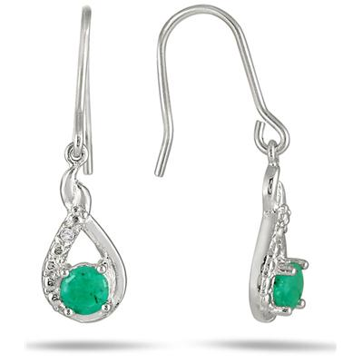 1/4 Carat T.W Round Emerald and Diamond Hook Earrings in .925 Sterling Silver