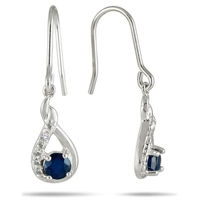 1/4 Carat T.W Round Sapphire and Diamond Hook Earrings in .925 Sterling Silver