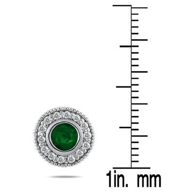 1/3 CTW Diamond and Emerald Earrings 10K White Gold