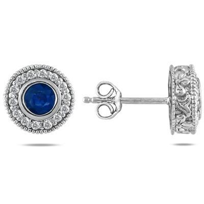 1/3 Carat TW Diamond and Sapphire Earrings 10K White Gold