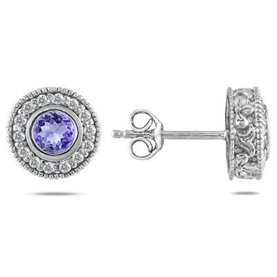 1/3 CTW Diamond and Tanzanite Earrings 10K White Gold