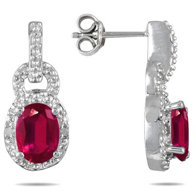 Created Ruby and Genuine Diamond Estate Earrings in .925 Sterling Silver