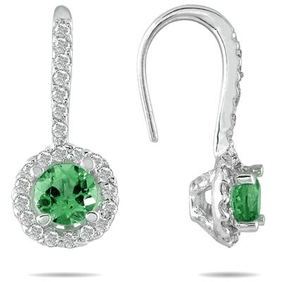 3/4 CTW Emerald and Diamond Earrings in 10K White Gold