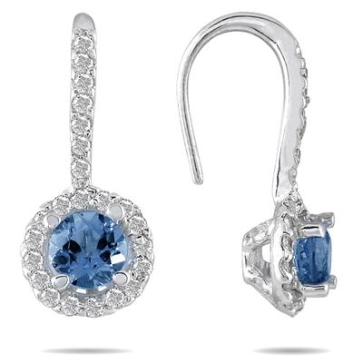 3/4 Carat TW Sapphire and Diamond Earrings in 10K White Gold