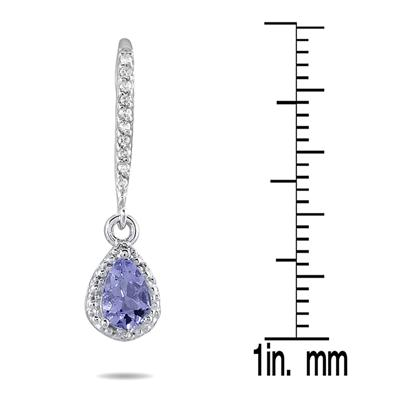 Tanzanite and Diamond Dangle Earrings in 10K White Gold