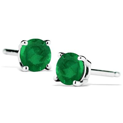 1/2 Carat Natural 4MM Emerald Stud Earrings in .925 Sterling Silver