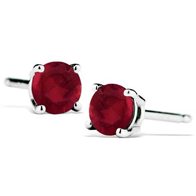 1/2 Carat Natural 4MM Ruby Stud Earrings in .925 Sterling Silver