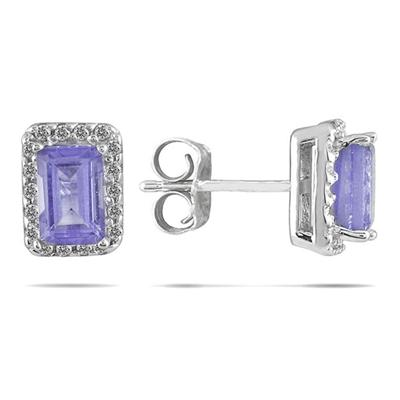 1 1/5 Carat Tanzanite and Diamond Earrings in 14K White Gold