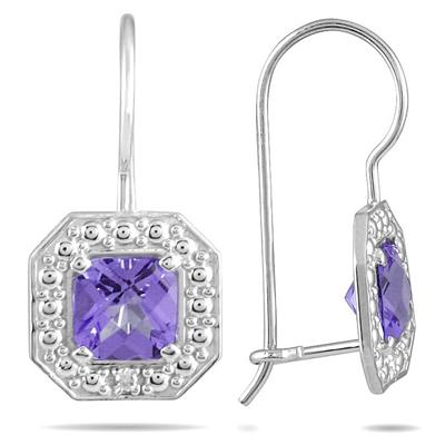 1 1/3 Carat Cushion Cut Amethyst and Diamond Earrings in 14K White Gold