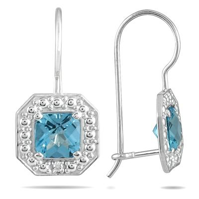 1 3/8 Cushion Cut Blue Topaz and Diamond Earrings in 14K White Gold