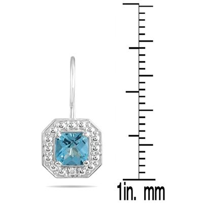 1 3/8 Cushion Cut Blue Topaz and Diamond Earrings in 14K White Gold