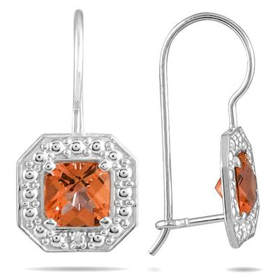 1 3/8 Cushion Cut Citrine and Diamond Earrings in 14K White Gold