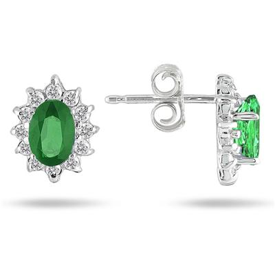 Emerald and Diamond Flower Earrings in 10K White Gold
