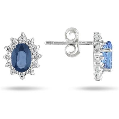 Sapphire and Diamond Flower Earrings in 10K White Gold