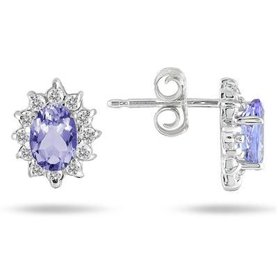 Tanzanite and Diamond Flower Earrings in 10K White Gold