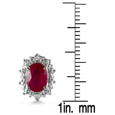 3.25 Carat All Natural Ruby and Genuine Diamond Earrings in .925 Sterling Silver