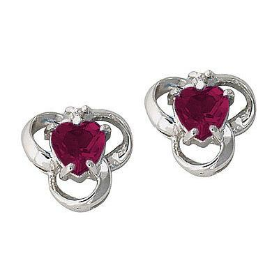 Ruby and Diamond Heart Earrings 14K White Gold