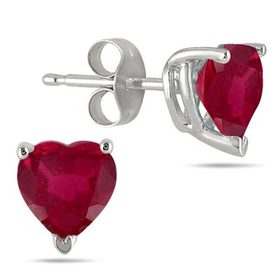 1.50 Carat Heart Shape Ruby Stud Earrings in .925 Sterling Silver