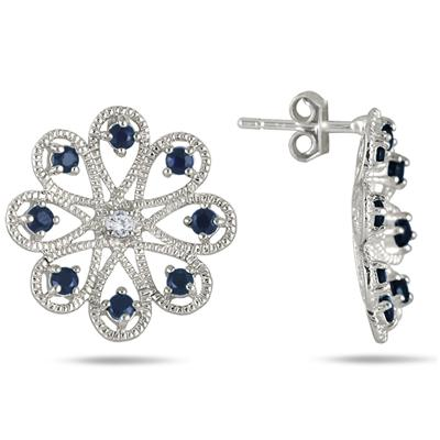 1.80 Carat Sapphire and White Topaz Earrings in .925 Sterling Silver