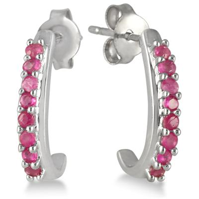 1/3 Carat Ruby Hoop Earrings in .925 Sterling Silver
