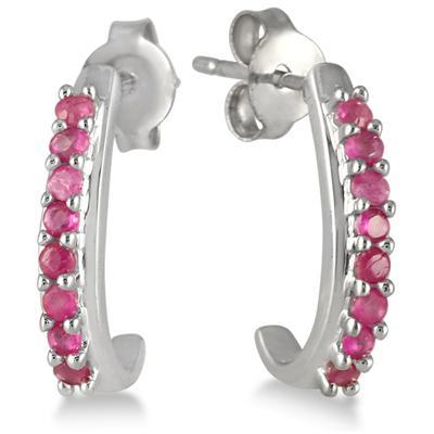 1/3 Carat Ruby Hoop Earrings in .925 Sterling Silver