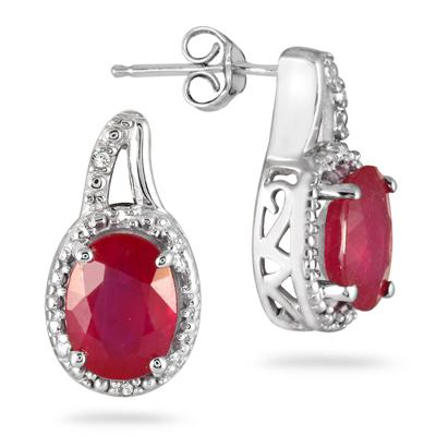 3.50 Carat Ruby and Diamond Earrings in .925 Sterling Silver