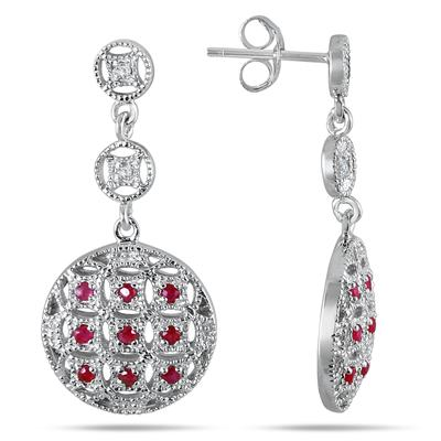 1 Carat Ruby and Diamond Circle Puff Earrings in .925 Sterling Silver