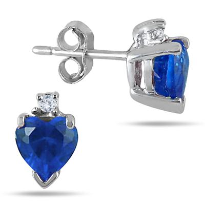 5MM Heart Shape Lab Created Sapphire and Genuine Diamond Earrings in .925 Sterling Silver