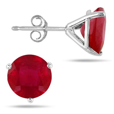 4.50 Carat Natural Ruby Stud Earrings in .925 Sterling Silver Martini Setting