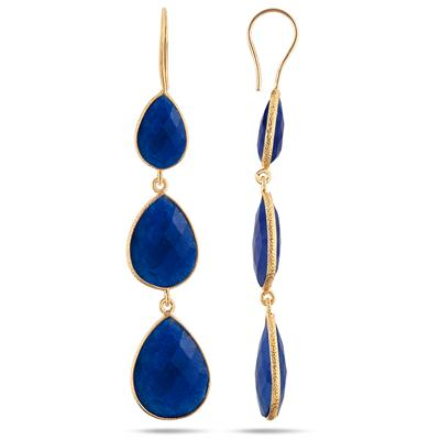 Sapphire Drop Earrings in 18K Yellow Gold Plated Sterling Silver