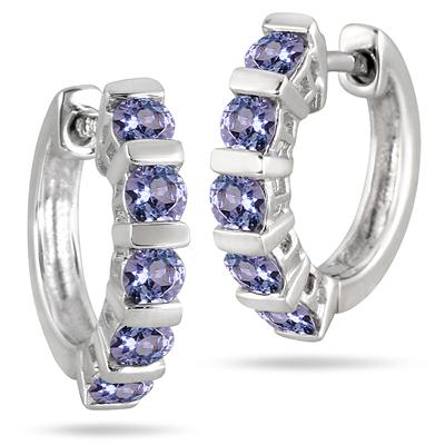 .925 Sterling Silver Tanzanite Hoop Earrings