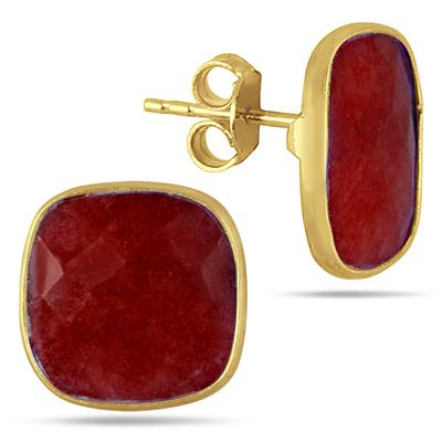 14MM Natural Cushion Cut Rough Onyx Ruby Stud Earrings in 18K Yellow Gold Plated Sterling Silver
