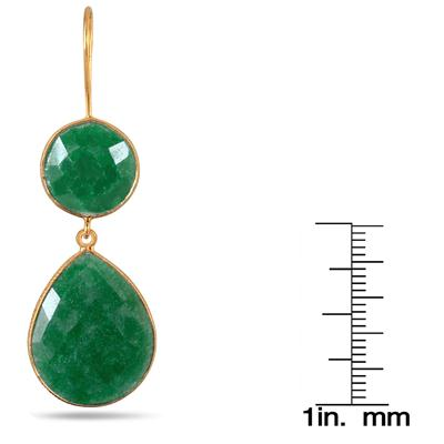 15 Carat Onyx Emerald Tear Drop Earrings in 18K Gold Plated Sterling Silver