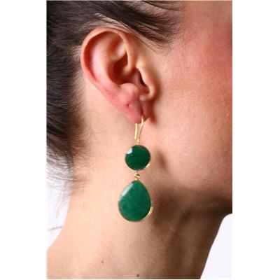 15 Carat Onyx Emerald Tear Drop Earrings in 18K Gold Plated Sterling Silver