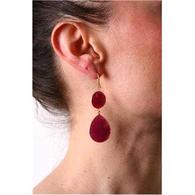 15 Carat Rough Onyx Ruby Tear Drop Earrings in 18K Gold Plated Sterling Silver