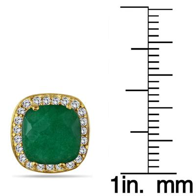 4.50 Carat Cushion Cut Rough Indian Emerald and White Topaz Earrings in 18K Gold Plated Sterling Silver